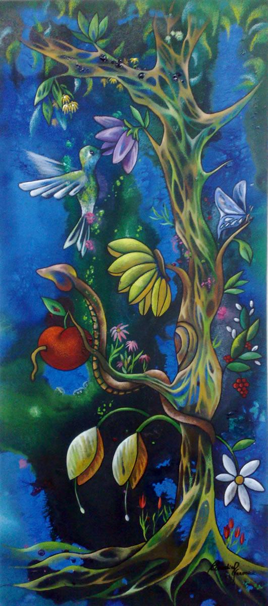 Árvore da Criação - Acrílica sobre Tela - Cláudia Verônica