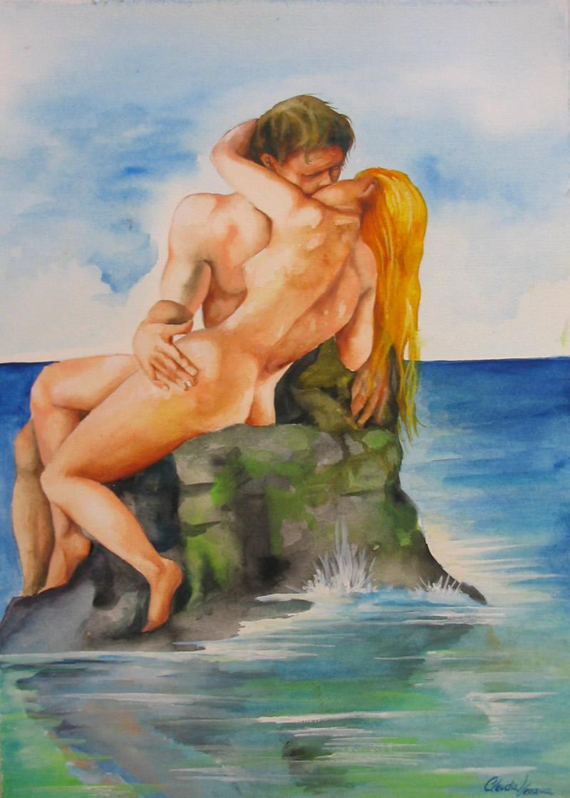 Adão e Eva - Aquarela - Cláudia Verônica