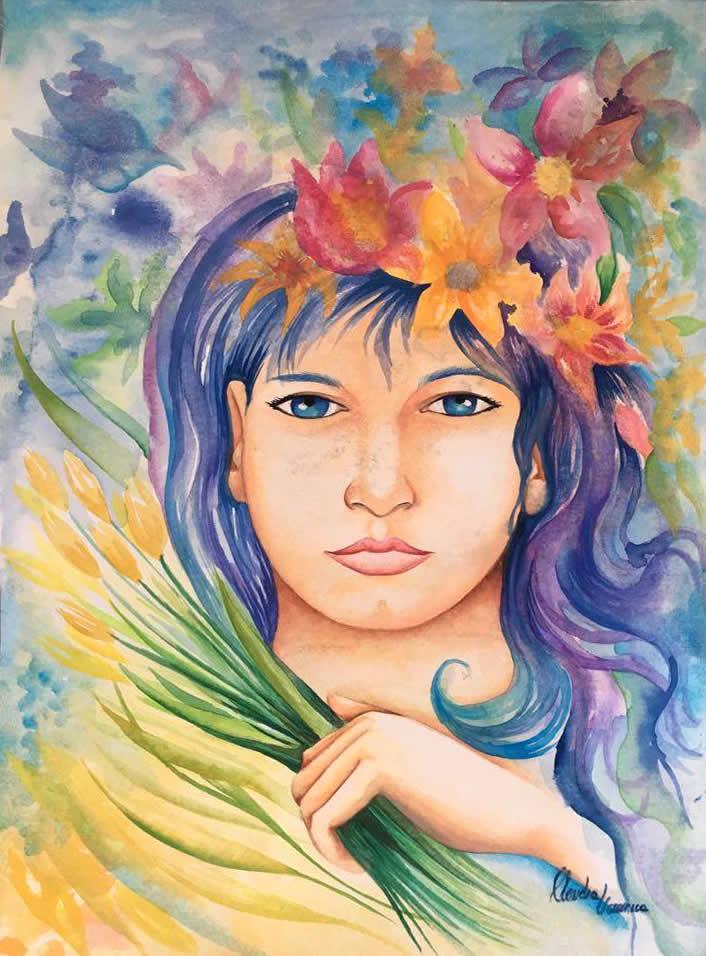 Florista - Aquarela - Cláudia Verônica