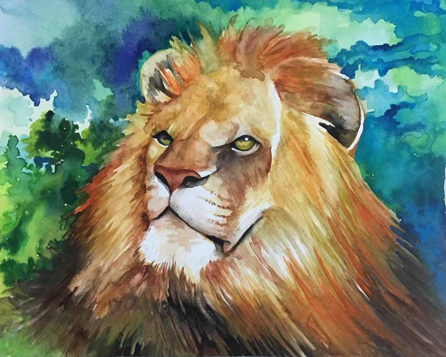 Leão - Aquarela - Cláudia Verônica