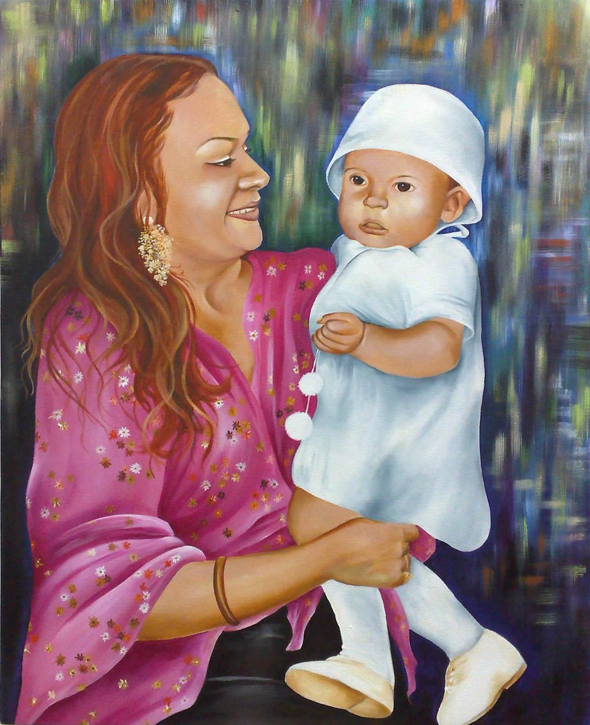 Mãe e Filha - Acrílica sobre Tela - Cláudia Verônica