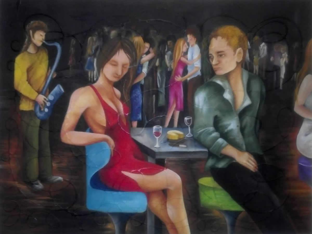 Mesa de Bar - Acrílica sobre Tela - Cláudia Verônica