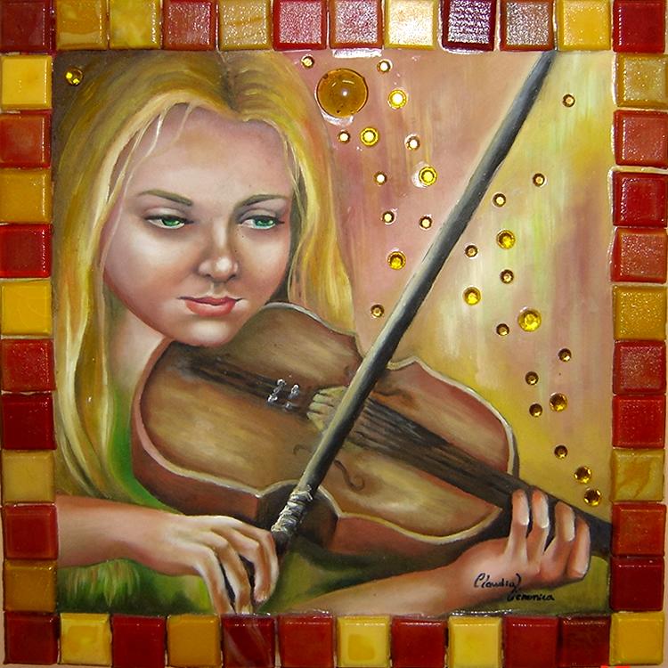 Moça no Violino - Técnica Mista - Cláudia Verônica