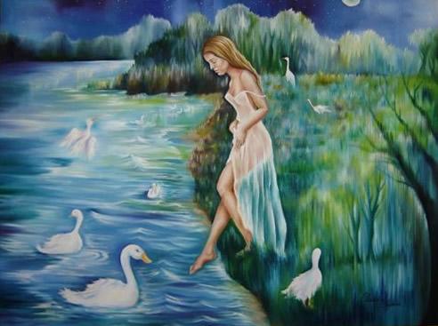 O Lago dos Cisnes - Óleo sobre Tela - Cláudia Verônica