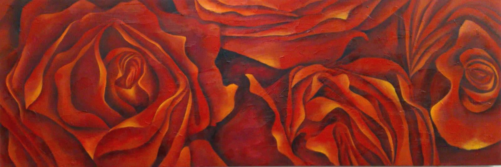 Rosas Vermelhas - Acrílica sobre Tela - Cláudia Verônica