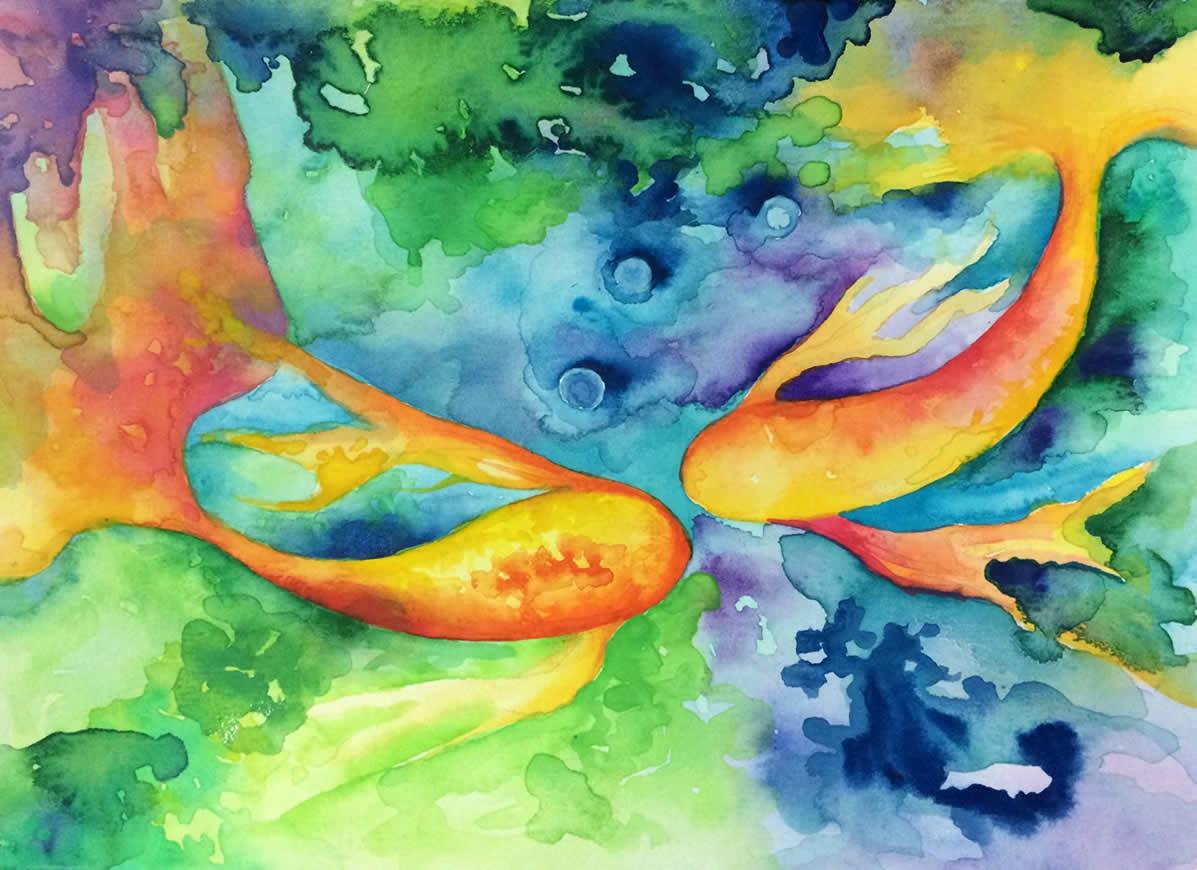 Signo de Peixes - Aquarela - Cláudia Verônica