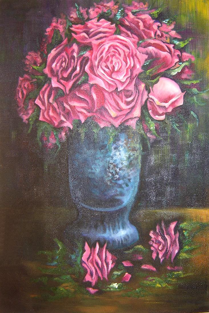 Vaso de Rosas - Acrílica sobre Tela - Cláudia Verônica