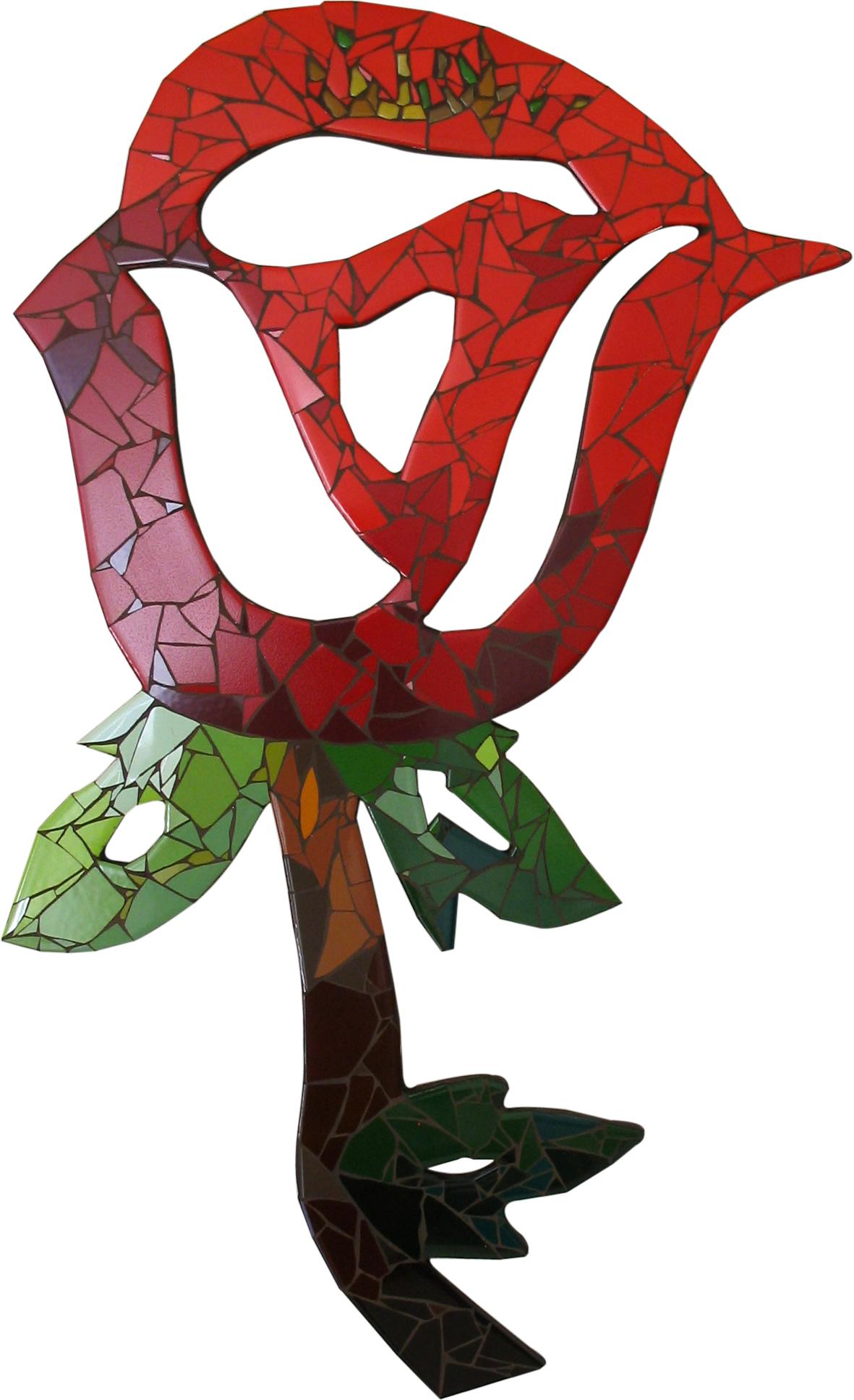 Mosaico - Rosa Vermelha - Claudia Veronica
